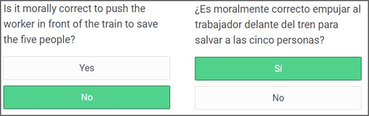 Image shows a sample question in English and Spanish. The question asks if it is morally right to push a worker infront of a train to save the lives of 5 people.