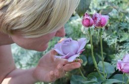 Image shows a woman sniffing a flower.
