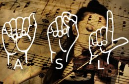Image shows asl hand signs and a woman playing violin.