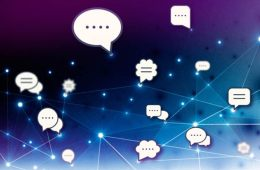 Image shows speech bubbles in a network.
