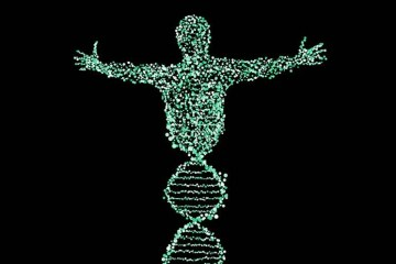 Image shows a dna strand.