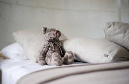 Image shows a teddy on a bed.