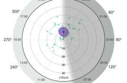 Image shows a clock with plots to show greatest olfaction sensitivity times.
