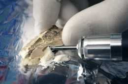 Image shows someone drilling a bone fragment for DNA analysis.