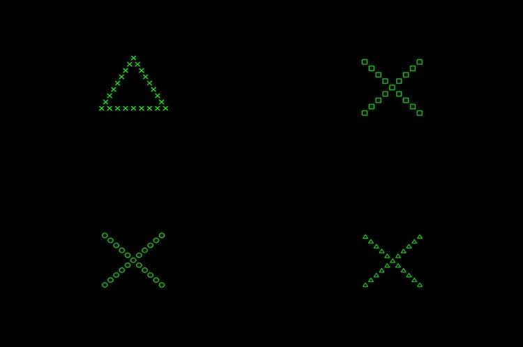 Image shows a triangles and x's.