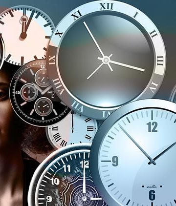 Image shows a woman surrounded by clocks.
