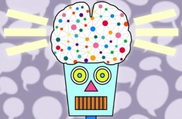 Image shows a cartoon of a robot with a neural network in a brain.
