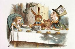 Image shows Alice and the Mad Hatter.