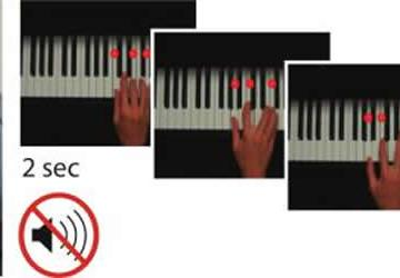 Image shows a person playing the piano with an EEG cap on.