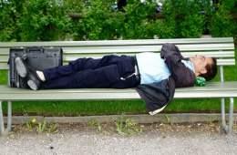 a man sleeping on a park bench