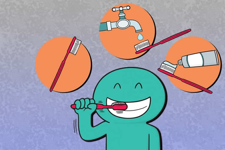 Image shows a cartoon of a person brushing their teeth.
