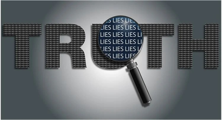 The words truth and lies are shown