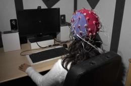 woman in eeg cap