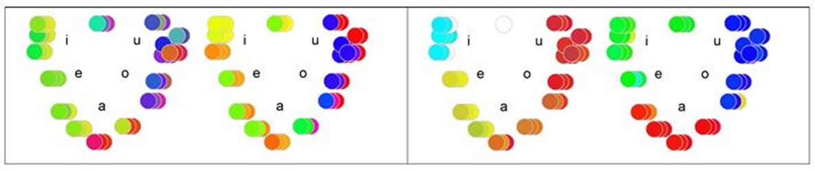 This image shows vowel letters under different colors