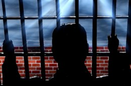 This shows a young person behind bars