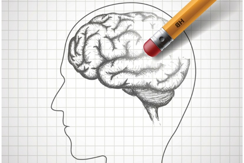 This shows someone erasing a drawing of a brain
