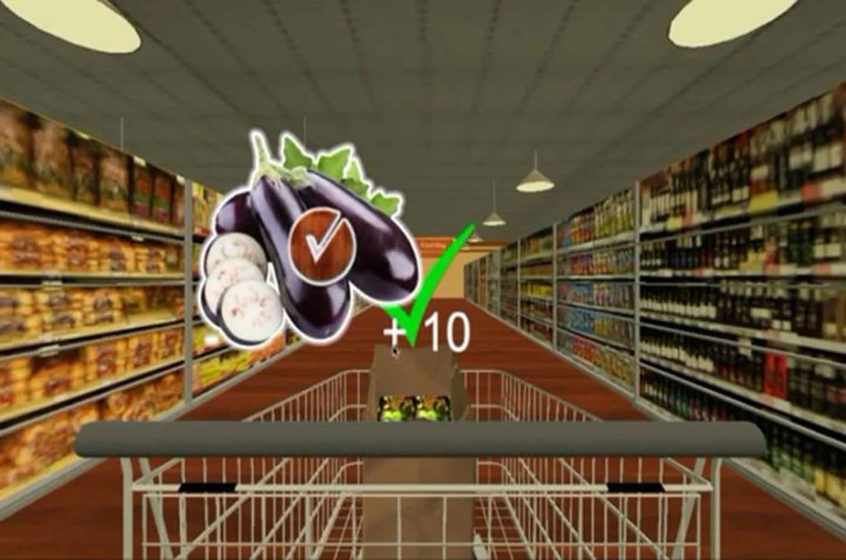 This is a still from the grocery store brain training game