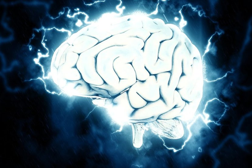 This shows a brain surrounded by electricity