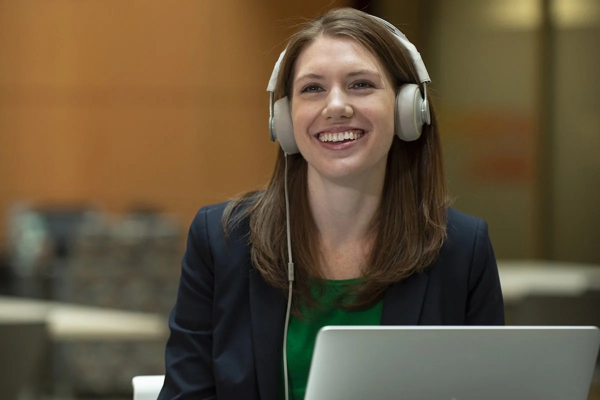 This shows the researcher listening to music on headphones