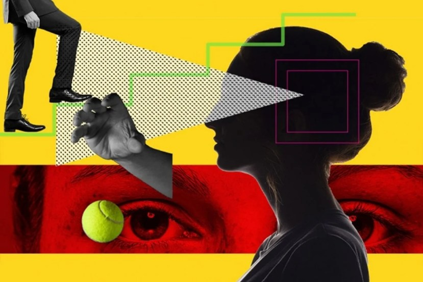 This shows a woman scanning for a tennis ball