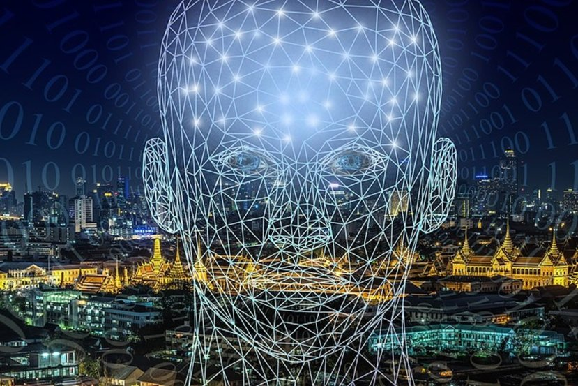 This shows a head made up of network lines