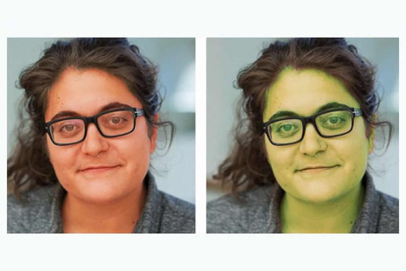 This shows the same woman with a rosy skin overlay and a green skin overlay