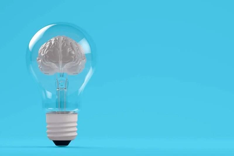 This shows a brain in a light bulb