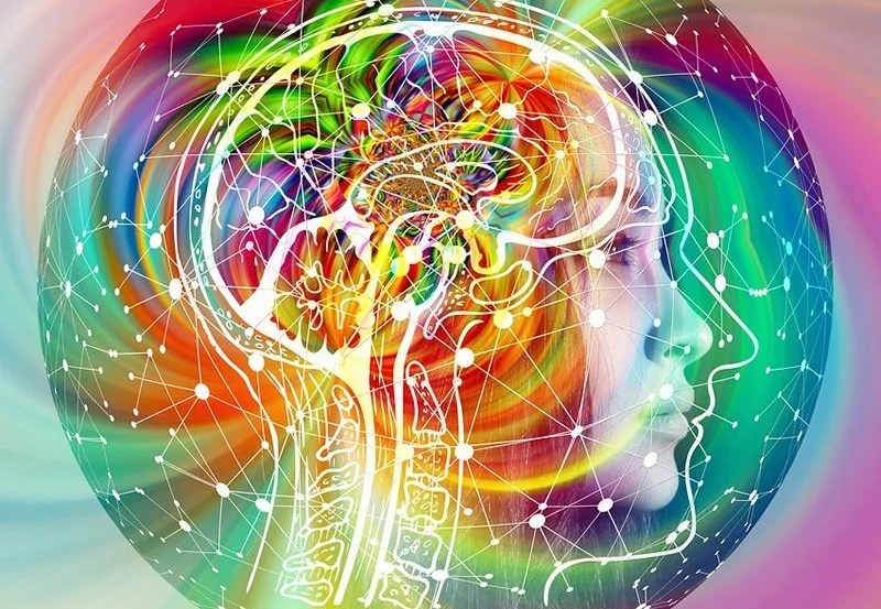 This shows psychedelic swirls around a person's head