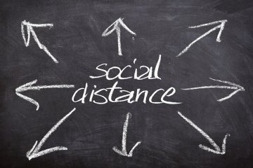 This says social distancing with arrows