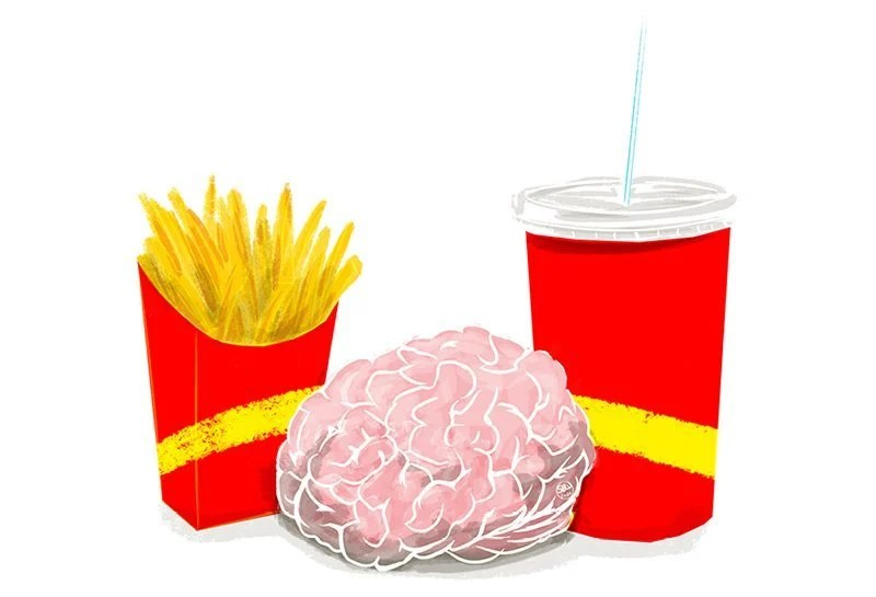 This is a drawing of a brain and fast food cartons