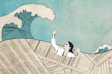 This shows a woman and a wave of papers