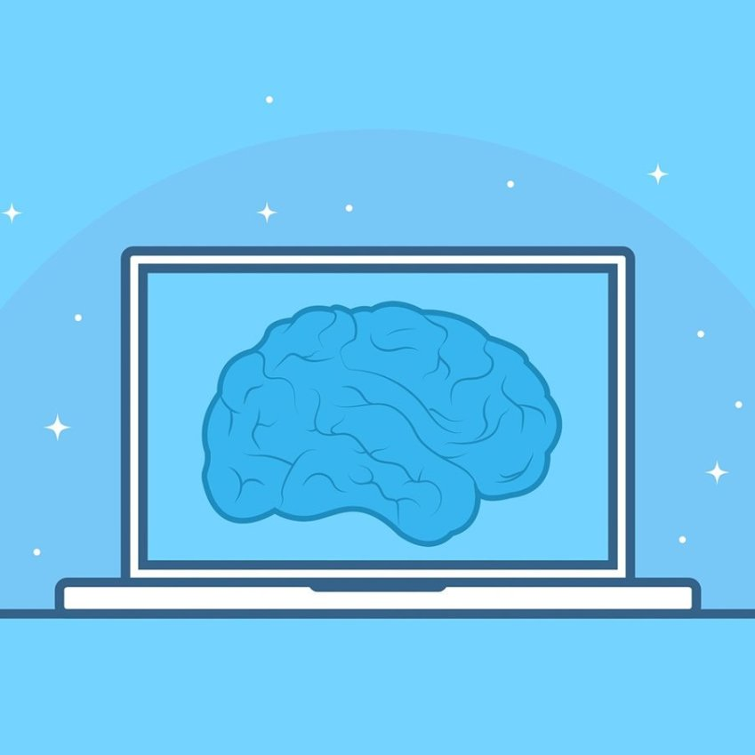 This shows a brain on a computer