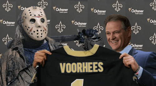 The New Orleans Saints made a splash today in free agency by signing pass-rushing defensive end Jason Voorhees, who is expected to bring a fearsome look to the Saints front seven this season.