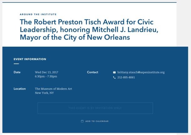 New Orleans Mayor Mitch Landrieu award