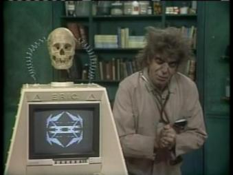 Dr. Morgus confers with E.R.I.C., the Eon Research Infinity Computer connected to a molecular integrated circuit that holds all the knowledge of the universe in his memory banks, about a cure for COVID-19