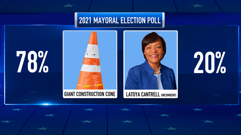 Giant construction cone polling as leading choice for next mayor of New Orleans - New Orleans news - Neutral Ground News