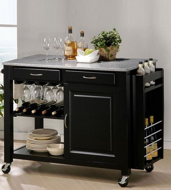 Small mobile kitchen island with wine rack