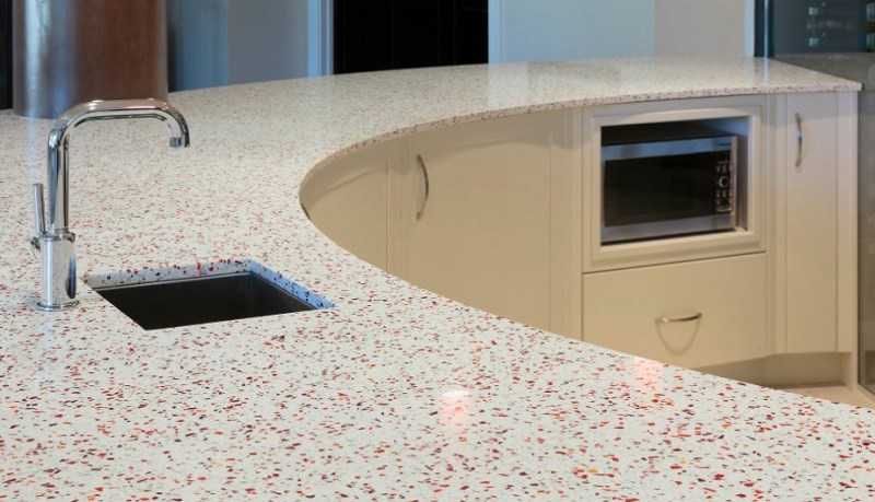 Geos recycled glass kitchen countertop