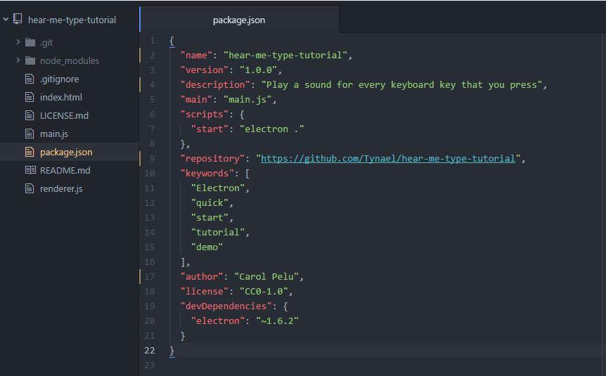package json app name description repository author