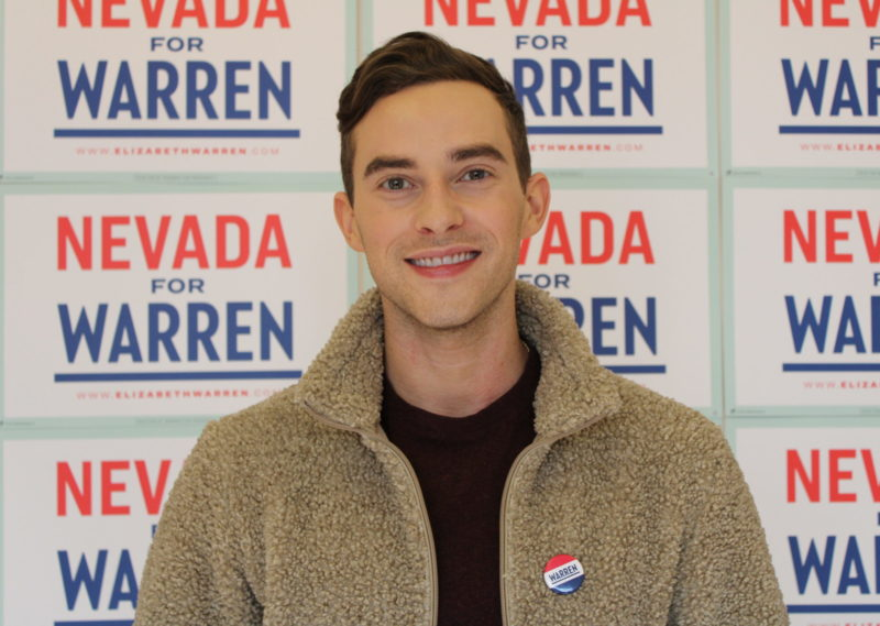 """""""We Need to Use Our Voices"""": Adam Rippon Campaigns for Elizabeth Warren in Las Vegas"""