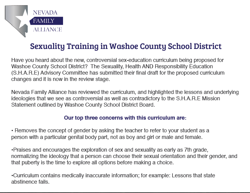 Washoe County Sexual Training Flyer