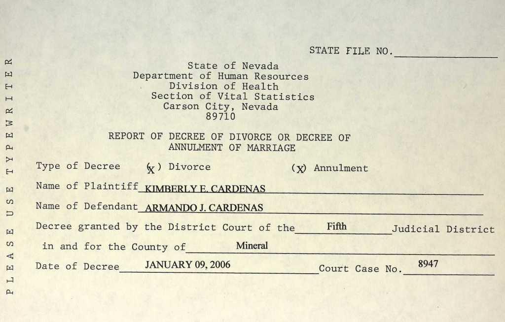 Example Nevada Divorce Record