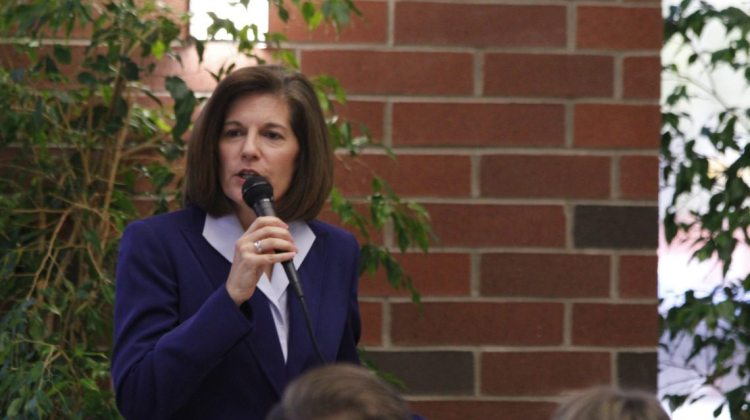 Democratic Senate candidate Catherine Cortez Masto addresses a crowd inside the Mathewson-IGT Knowledge Center on Wednesday, Sept. 28. Current polls place Cortez Masto and opponent Joe Heck in a dead heat.