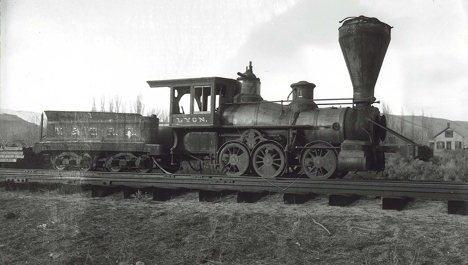 Historical photo: The Lyon locomotive – the first one ordered and used by the Virginia & Truckee Railroad in in 1869 – sits on tracks in Carson City in the late 1800s. The locomotive was scrapped in the late 1890s. Photo courtesy of Nevada State Railroad Museum.