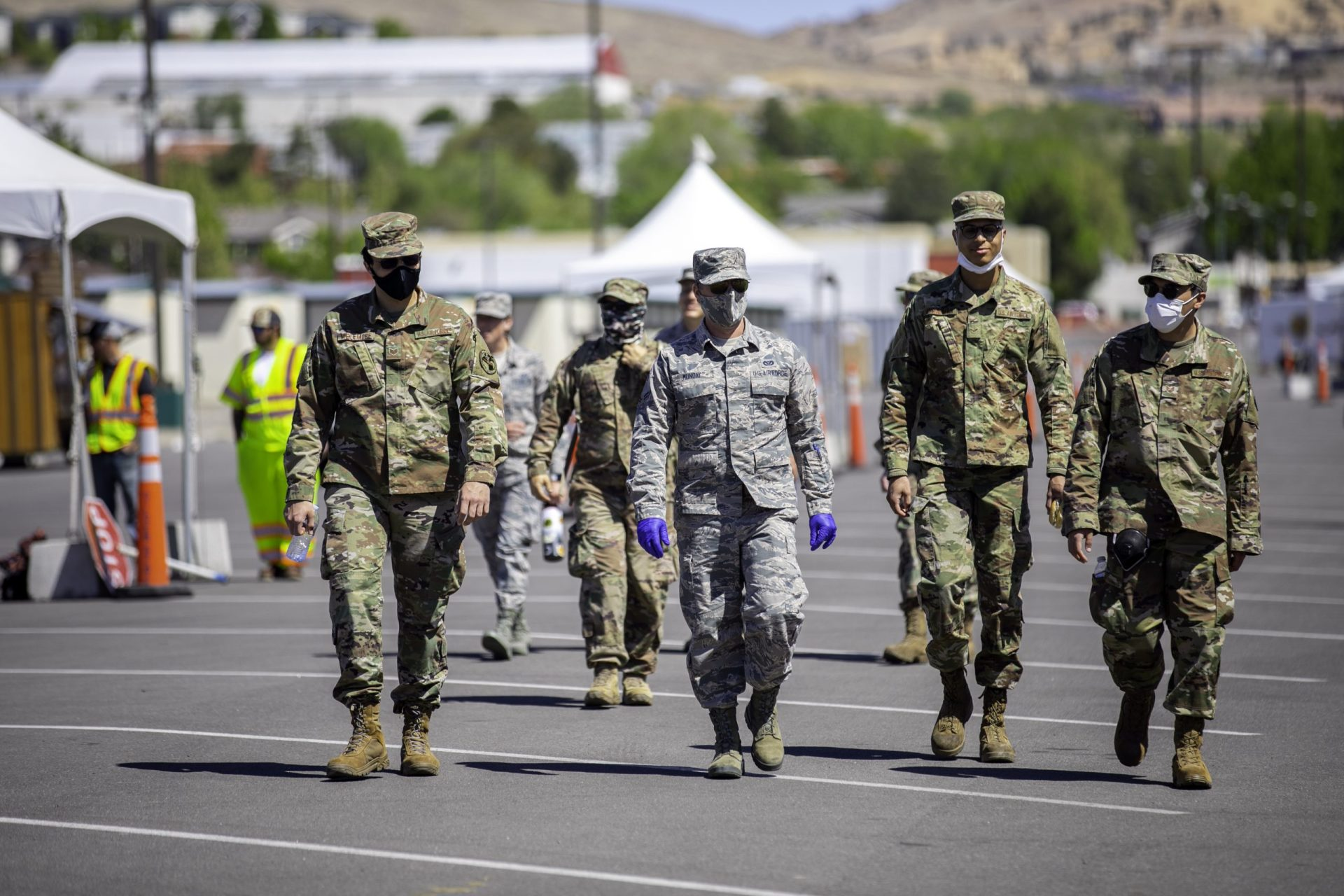 Nevada's National Guard assists at COVID-19 test locations in Nevada, directing traffic and contact tracing.