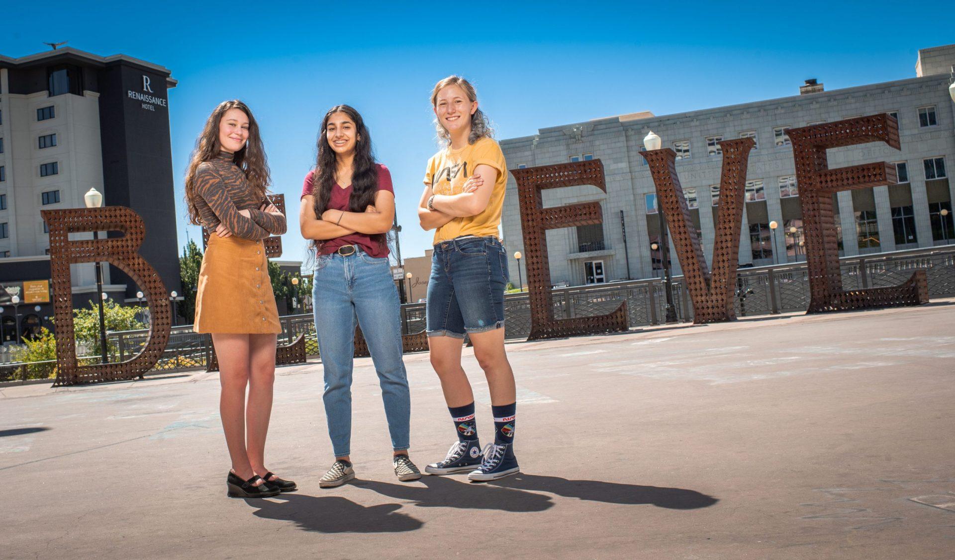 Left to right, Anastasia Chevalier, Eakjot Sekhon and Lara Cassity. Photo by Nick Higman Photography.