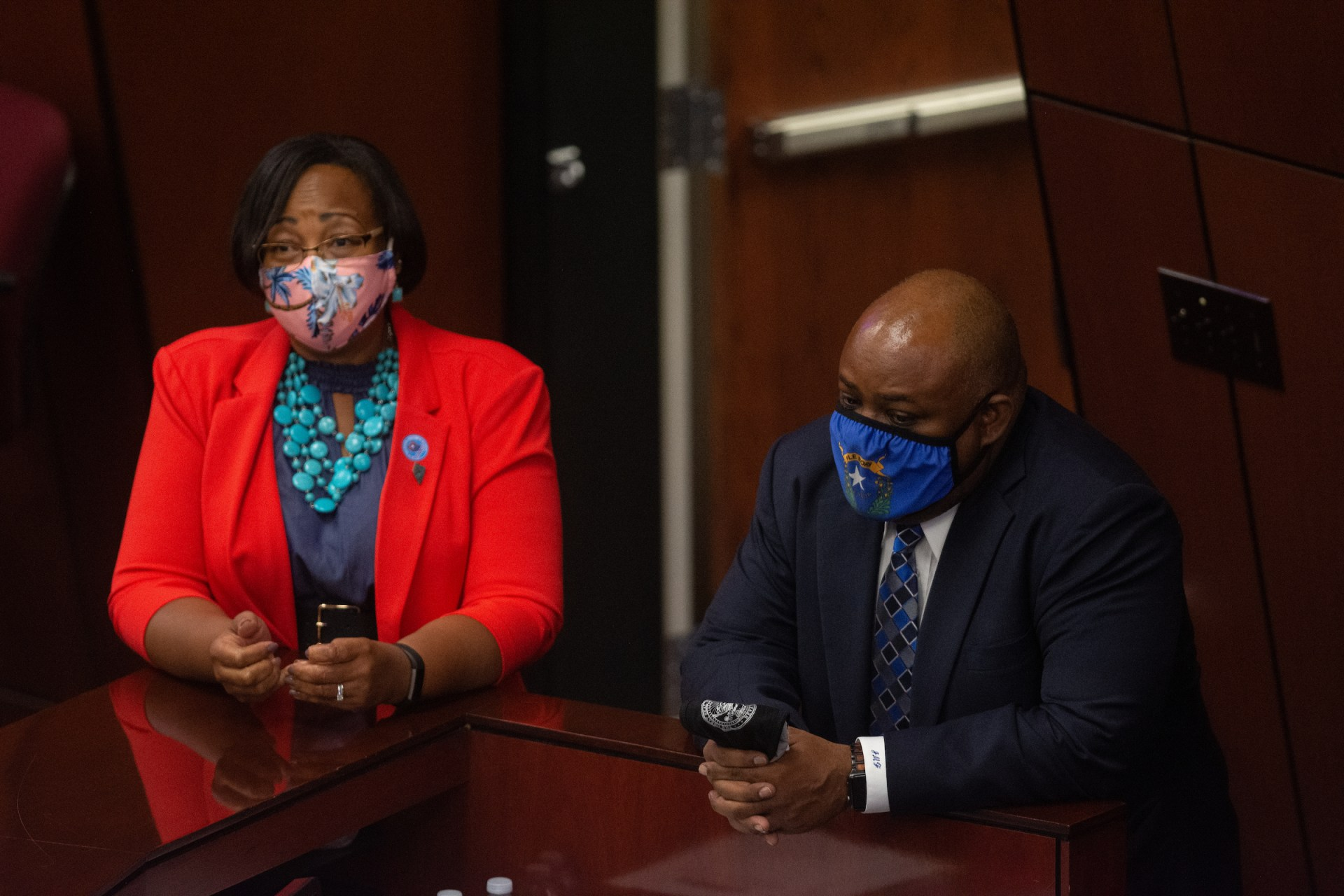 Assembly Assistant Majority Floor Leader Daniele Monroe-Moreno, left, and Assembly speaker Jason Frierson on Friday, July 31, 2020 during the first day of the 32nd Special Session of the Legislature in Carson City. (David Calvert/Nevada Independent)
