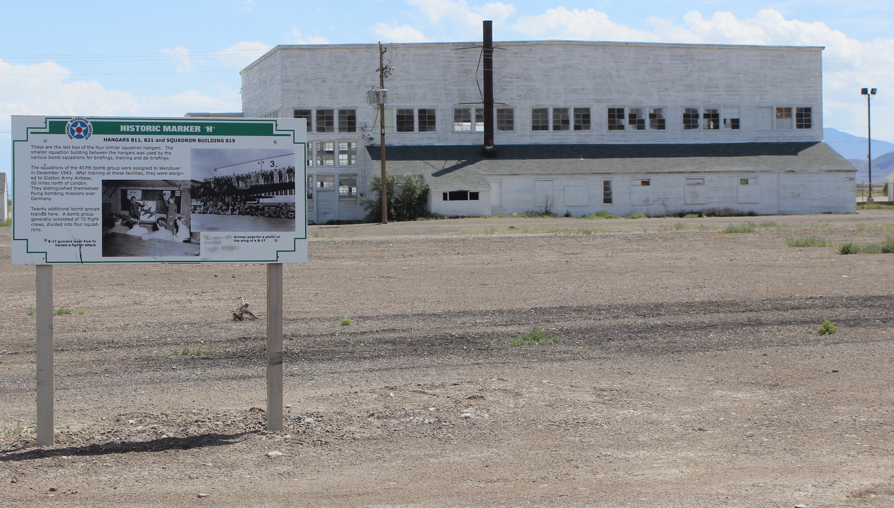 Two squadron hangars out of four still exist at the Wendover Air Field. Steve Ranson / NNG