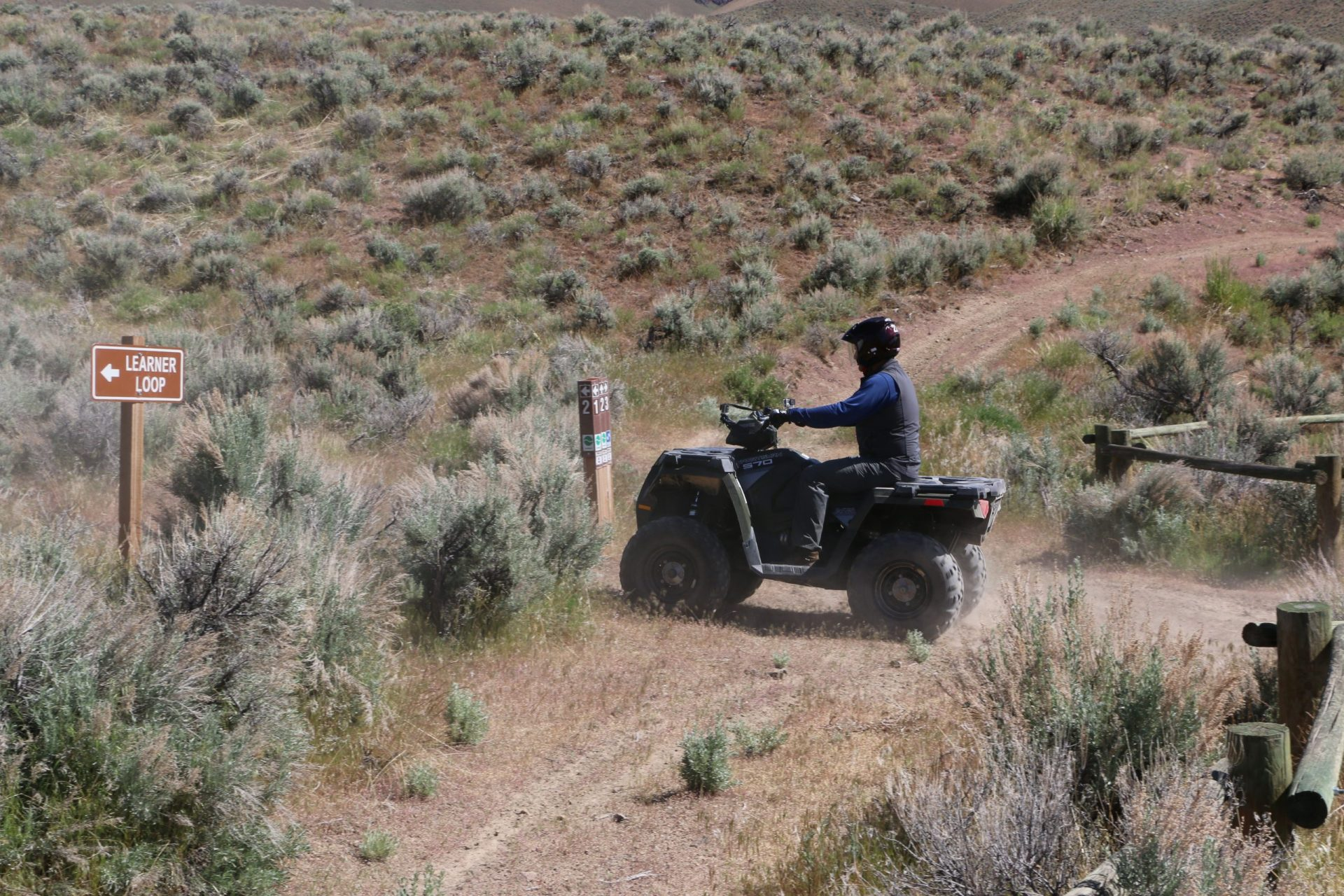 An OHV rider on the Lewis Canyon OHV Trail near Battle Mountain.