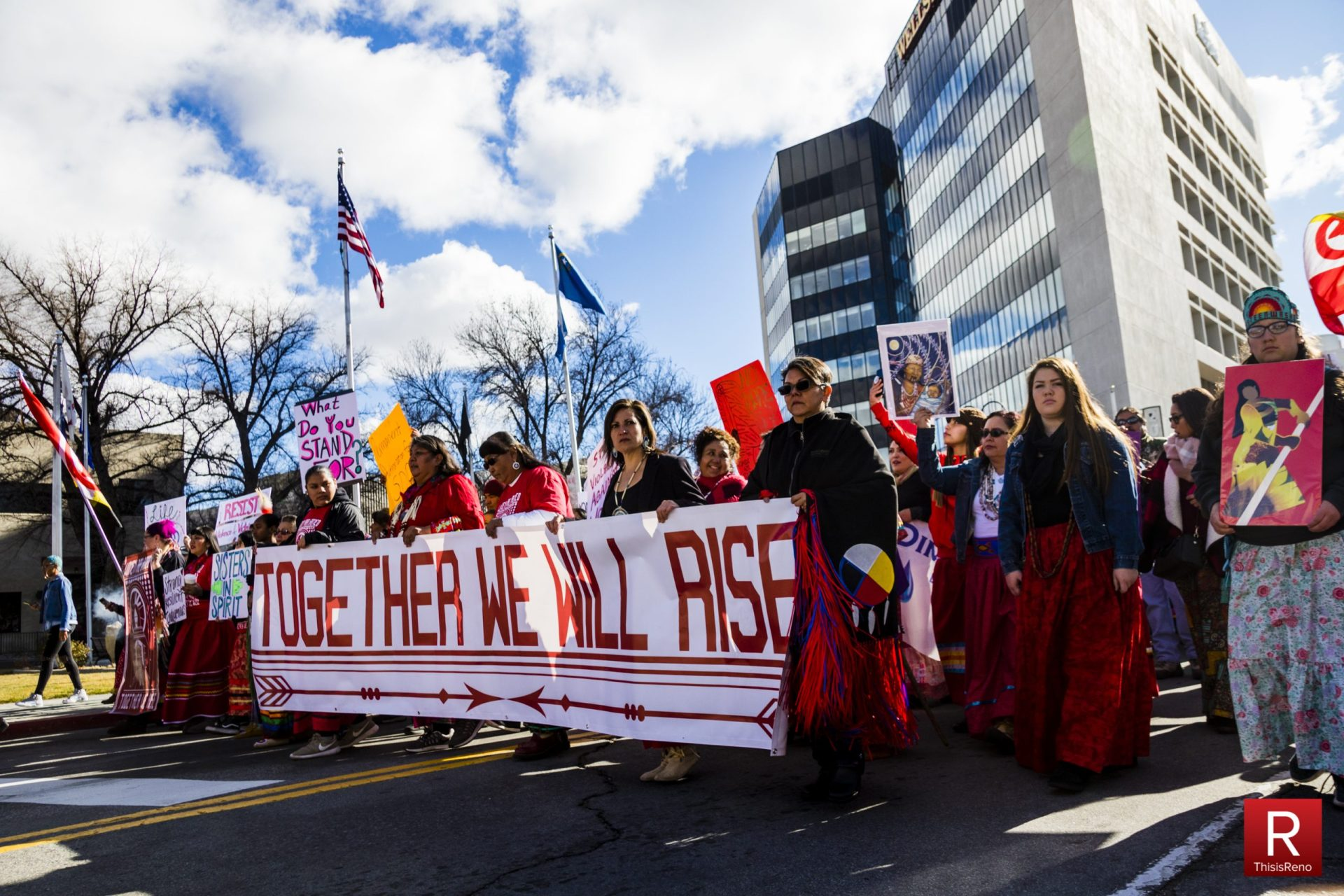 Native American women lead Reno's second Women's March in January 2018. Image: Ty O'Neil / This Is Reno